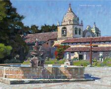 COLOR PRINT OF OIL PAINTING, CALIFORNIA MISSION #8