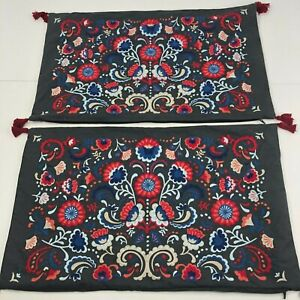 "Ikea SKOGSKORN Cushion Cover 16"" x 26"" set of 2  Embroidered Gray Multicolor"
