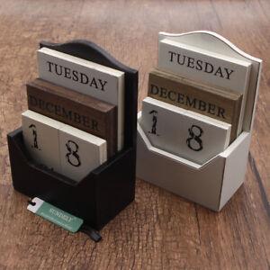 DIY Wood Plate Block Perpetual Calendar Wooden Office Home Desk Decor