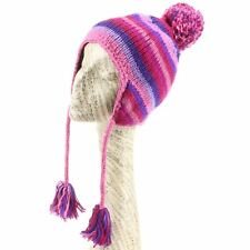 Hat Wool Earflap Stripe Striped Ear Flap Fleece Winter Beanie Knit Pink Purple