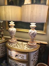 Pair Of Large Handpainted Carved Gilt Gustavian Style Table Lamps