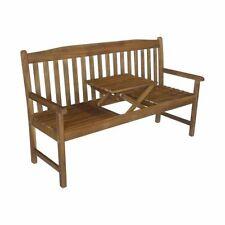 Gartenbank mit Tischablage Sitzbank Bank Holzbank 3-Sitzer Terrasse Garten Holz