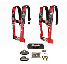 """Pro Armor 4 Point 3"""" Padded Seat Belts Harness Pair Mount Kit Red General"""