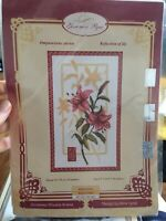 Counted Cross Stitch Kit ,,Reflection Of Lily,, Canvas Lurex-Aida 14 Ct16 Colors