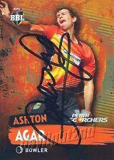 ✺Signed✺ 2015 2016 PERTH SCORCHERS Cricket Card ASHTON AGAR Big Bash League
