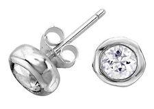 DOWER & HALL Dewdrop White Topaz Beaten Nugget Stud Earrings BNIB