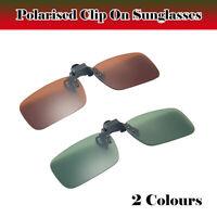 Polarised Clip On Flip Style Sunglasses UV400 Fishing Eyewear Case Green/Brown
