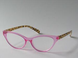 Betsey Johnson CAT EYE Reading Glasses Pink Frame w/ Cheetah Print Arms NEW