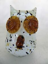 Murano Style Art Glass Owl Figurine Paperweight Amber Eyes Nose Made In Italy
