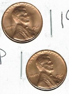 1961 P & D Brilliant Uncirculated Two Lincoln cent coins!