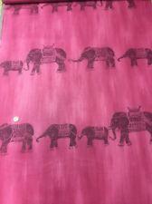 "Pink Marl Elephant Stripe 100% Cotton quilting craft Fabric 60"""