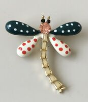 Unique vintage style  polka dot Dragonfly  brooch in enamel on metal