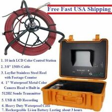 "Sewer Drain Pipe 10"" LCD Screen 150FT Cable Inspection Camera 512HZ Sonde USB SD"