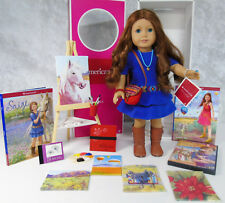 "NEW American Girl 18"" SAIGE DOLL In Meet Outfit Ring Jewelry Purse Paint Set BOX"