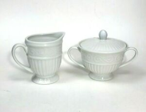 Gourmet Expressions Chalmers White Creamer and Sugar Bowl with Lid