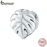 BAMOER Authentic Charm Bead Monstera deliciosa S925 silver Fit Bracelet Jewelry