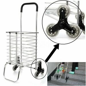 Folding Shopping Cart Jumbo Basket Grocery Laundry Travel With 6 Stair   ~.