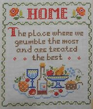 Vintage Home Sampler Where Grumble The Most Treated Best Completed Cross Stitch