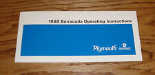 1968 Plymouth Barracuda Owners Operators Manual 68