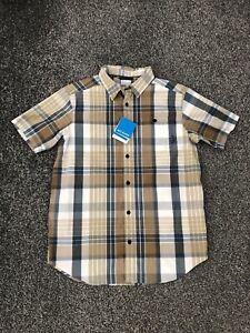 Columbia Men's Boulder Ridge Short Sleeve Shirt Check Size Medium M BNWT