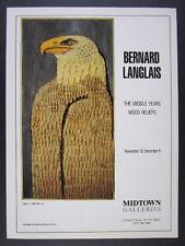 1986 Bernard Langlais Eagle Wood Relief Midtown Galleries vintage print Ad
