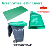 Green wheelie bin liners 240 litre 30″x46″x54″ UK / rubbish bags/Refuse sacks