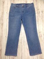 """Women's LANDS END Mid Rise Straight Leg Medium Wash Blue Jeans Size 14 P L: 27"""""""