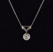 Fine Estate Diamond Solitaire Dangle Fashion 14k White Gold Necklace Pendant