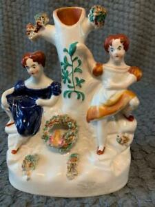 STAFFORDSHIRE 19thC  FLATBACK  TWO LADIES OF THE NIGHT? SPILL VASE