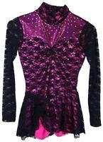 Pink w/ Black Lace Biketard/Unitard Costume Made with Swarovski Cystals - AS