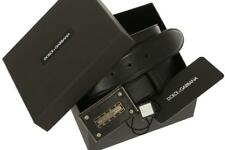 NEW DOLCE & GABBANA BLACK LEATHER LOGO BUCKLE BELT 90/36 W/BOX