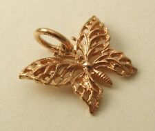SOLID 9ct ROSE GOLD 3D FILIGREE  BUTTERFLY ANIMAL Charm/Pendant