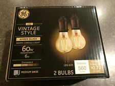 LED Vintage Warm candle Amber Glass Dimmable A19 base 4 bulbs 60w
