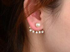 New Zara Jcrew Style Mise En Tribal Pearl CZ Stud Ear jacket Earrings