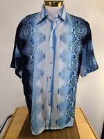 Mens Royal Prestige PD Blue Geometric Shirt Sz XL Short Sleeve Button EUC