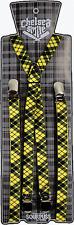 66502 Yellow & Black Plaid Suspenders Silver Clasps Sourpuss Punk Braces Oi Thin