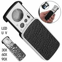 30/60/90X Magnifying Glass Magnifier Jewelry UV LED Slide Light Pull Out Loupe A