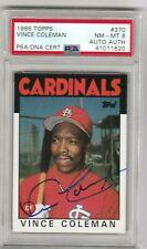 Vince Coleman 1986 Topps Rookie Signature Autograph AUTO RC PSA/DNA 8 *POP 1*