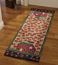 "AREA RUG - COUNTRY BARN & FLOWER GARDEN HAND HOOKED RUG - 24"" X 72"" RUNNER"