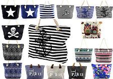 grosse Einkaufstasche Strandtasche Badetasche Shoppingtasche Damentasche Kordel
