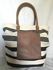 Large TRENERY Leather/Cotton Tote/Shoulder Bag / Handbag
