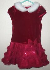 Toddler Girl's 24 Months 2T Red Velour White Fur Collar Holiday Christmas Dress