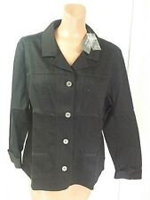 Additions by Chico's  Women's Suncloth Belmont  Black Button Down Jacket size 3