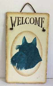 """Scottie Dog Slate Welcome Sign 12"""" x 7"""" Hand Painted Vintage 2006"""