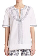 NWT $295 TORY BURCH White Blue Embroidered Poplin Top Blouse Tunic - Size 6 (M)