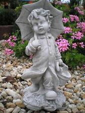 "Gartenfiguren ""Christian mit Schirm"" 39 cm, Steinguss, Menschen, Top Gartendeko"