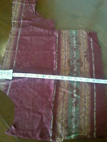 Vintage Fabric Scrap Maroon Damask Silky Remnant Salvage Fragments