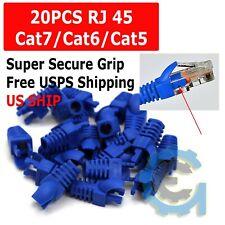 Lot 20 Blue Rj45 Connector Modular End Cap Boot Head Cat5 Plug Cat6 Cat5E Cable