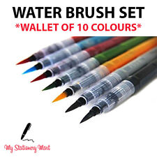 10 Coloured Water Brush Pen for Water Colour Calligraphy Dip REFILLABLE!