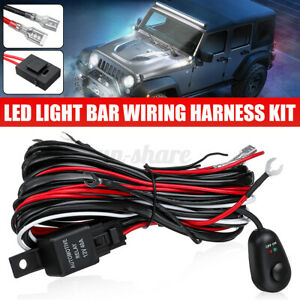 Two Lead 180W LED Light Bar Wiring Harness Kit Fuse Relay ON/OFF Switch Of
